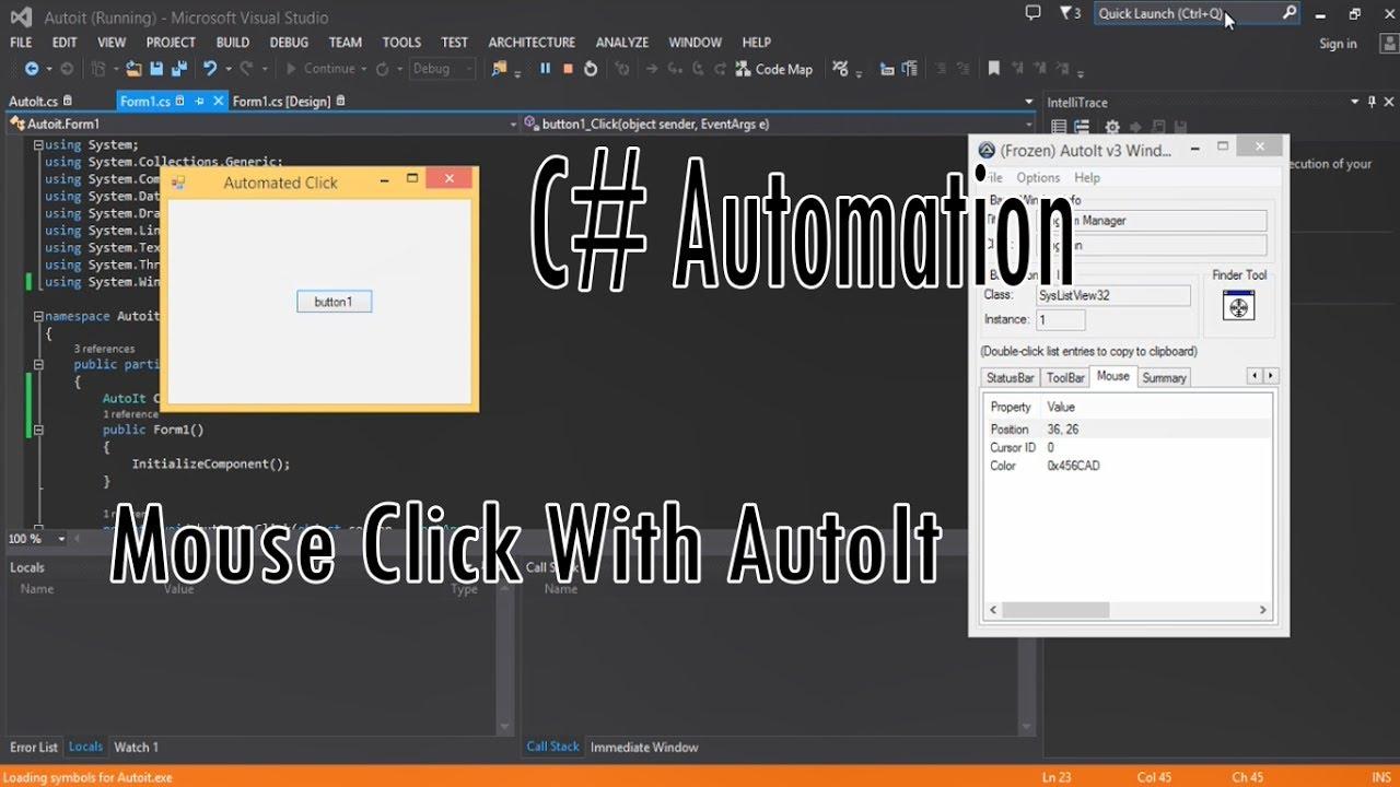Mouse Click using Autoit on c# (Tutorials Automation Programing)