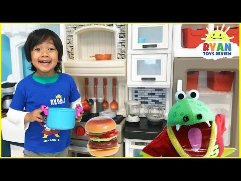 Thumbnail: Pretend Play Food Toys Cooking Step2 Grand Luxe Kitchen Playtime velcro cutting fruits and vegetable