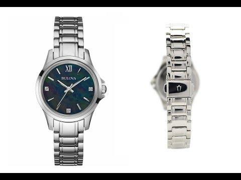 Bulova 96P153 Mother Of Pearl Diamond Watch Ladies Black Pearl 3ATM RPR£200 NEW