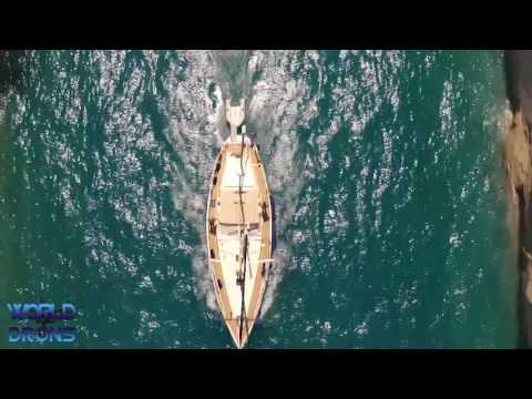 Corinth Canal Greece Drone Aerial Video Greek  Dhioryga tis Korinthou Ship cruise
