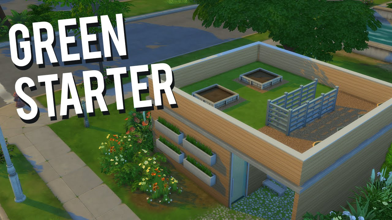 the sims 4 speed build — green starter home - youtube