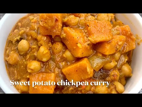 How to make sweet potato chickpea curry/ easy sweet potato curry recipe /vegan sweet potato curry