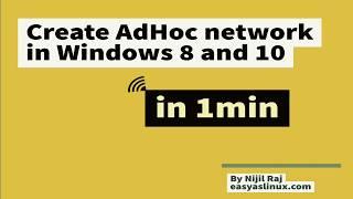 Erstellen/Setup-ad-hoc-wireless-Netzwerk in windows 8 / windows10 ohne Befehle in einer min