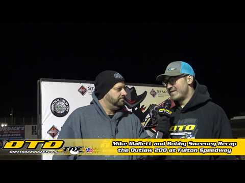 Mike Mallett and Bobby Sweeney recap the 34th running of the Outlaw 200 at the Fulton Speedway. In an upset, Mike Maresca beat out a stellar field to claim the ... - dirt track racing video image