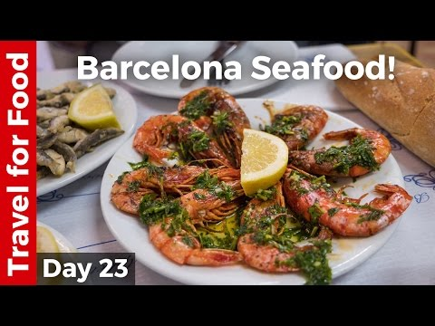 Spain Food in Barcelona - Grilled Shrimp and Sardines + FC B