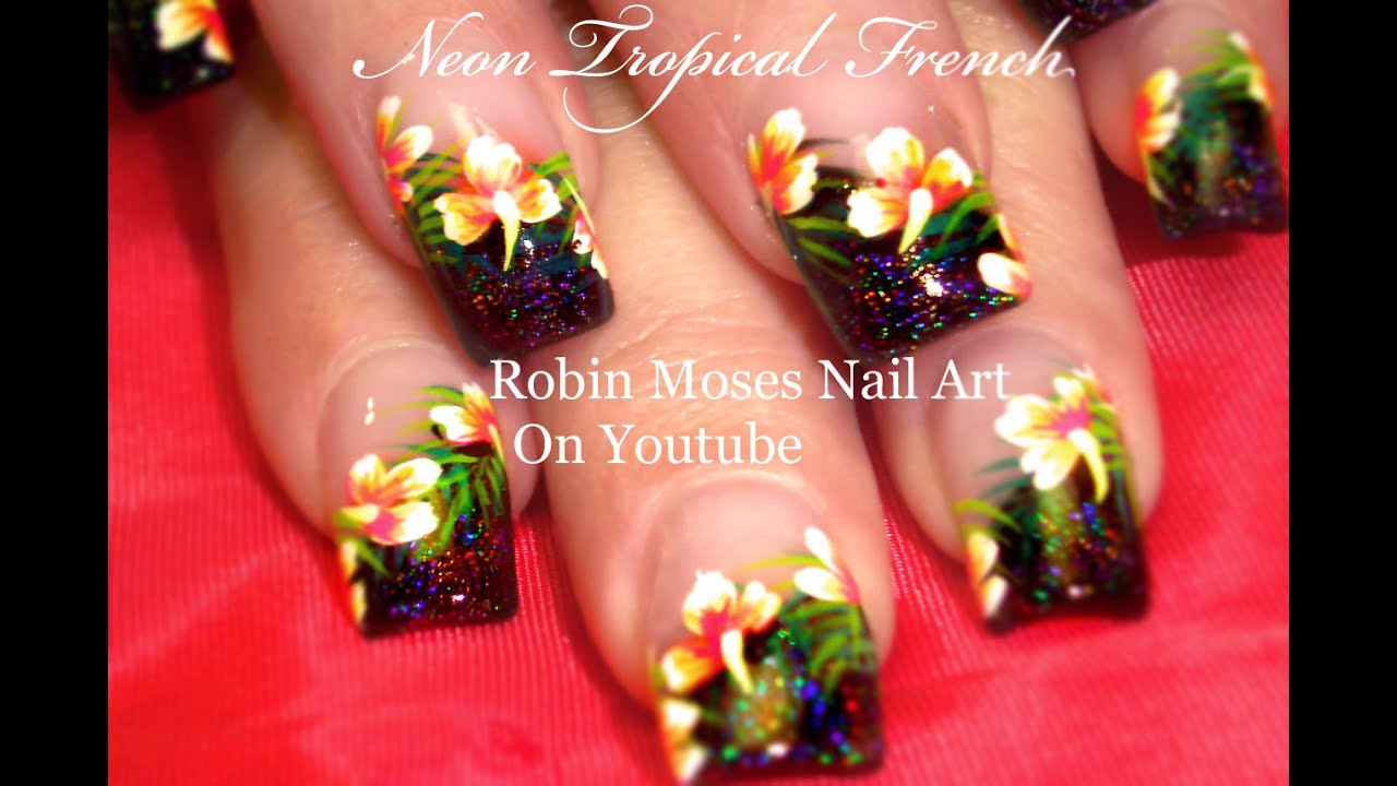 Hot Tropical Flower Nails Summer Neon Pink Hibiscus Nail Art
