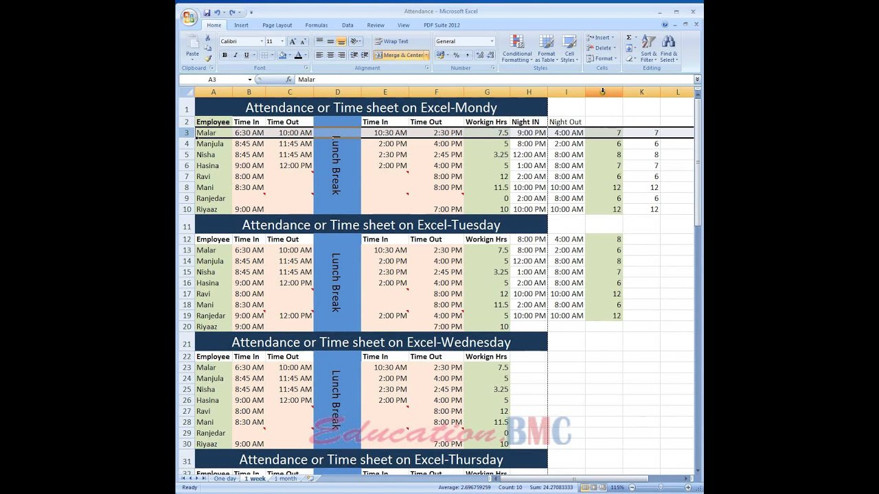 employees timesheet excel