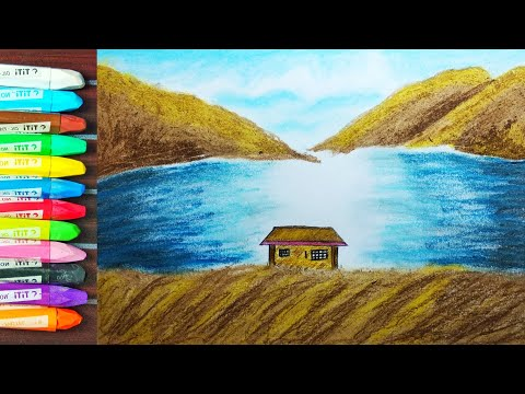 Beginner Mountain landscape Drawing with oil pastel very easy for kids(step by step)