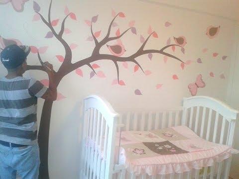 Ideas Para Decorar La Habitacion De Un Bebe , mural para niña ...