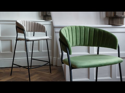 Curved Back Velvet Dining Chair In Moss Green & Mink Grey