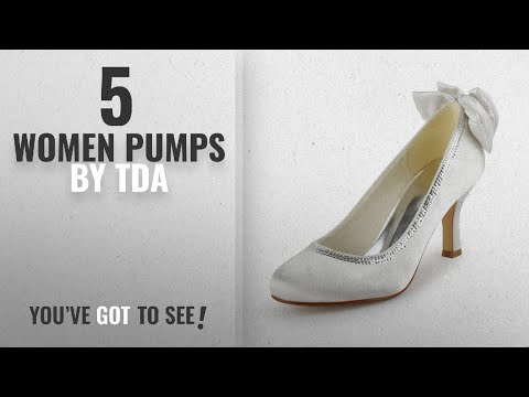 Top 5 Tda Women Pumps [2018]: TDA TH12128 Womens Roud Toe White Satin Crystals Evening Parting
