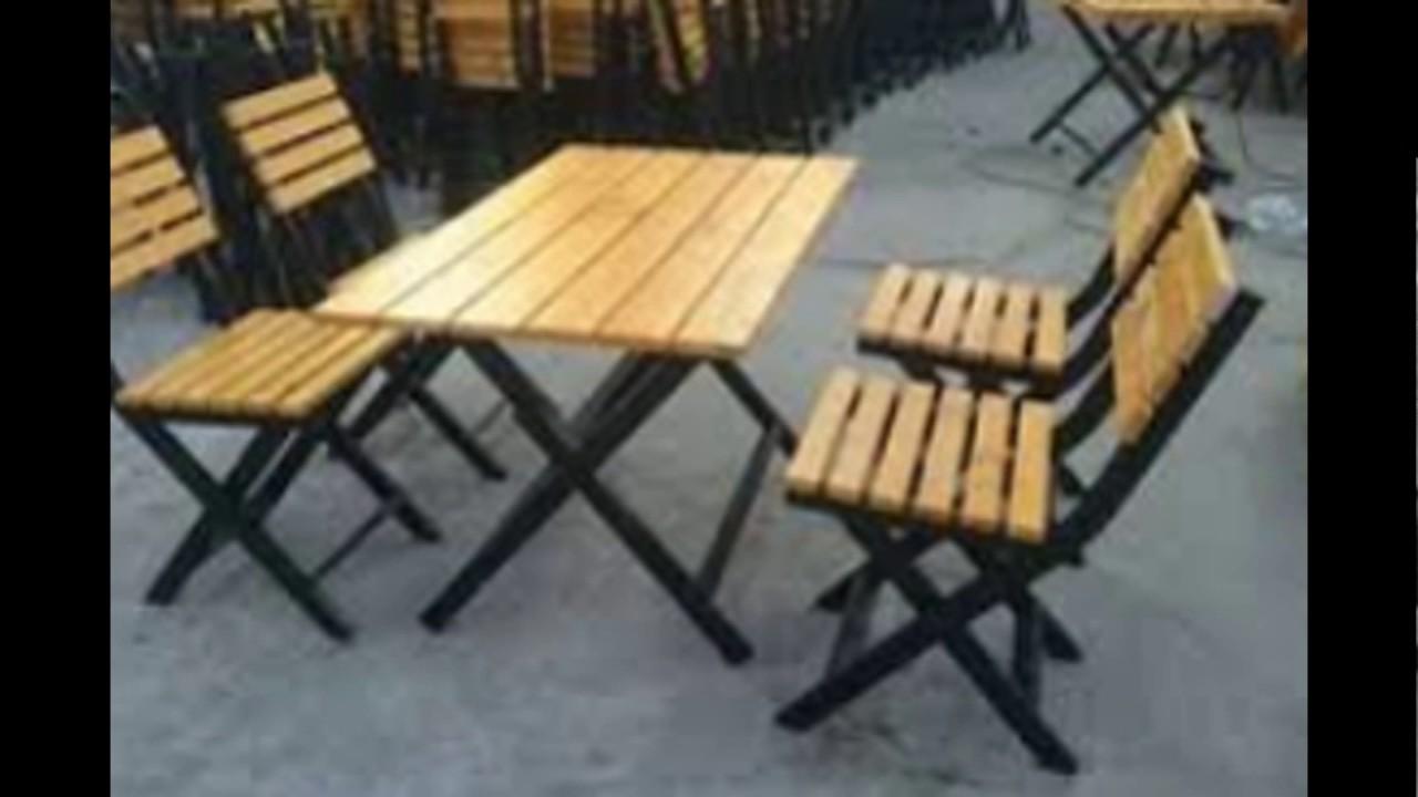 Bàn ghế cafe gấp khung sắt mặt gỗ Bắc Giang 0987822411