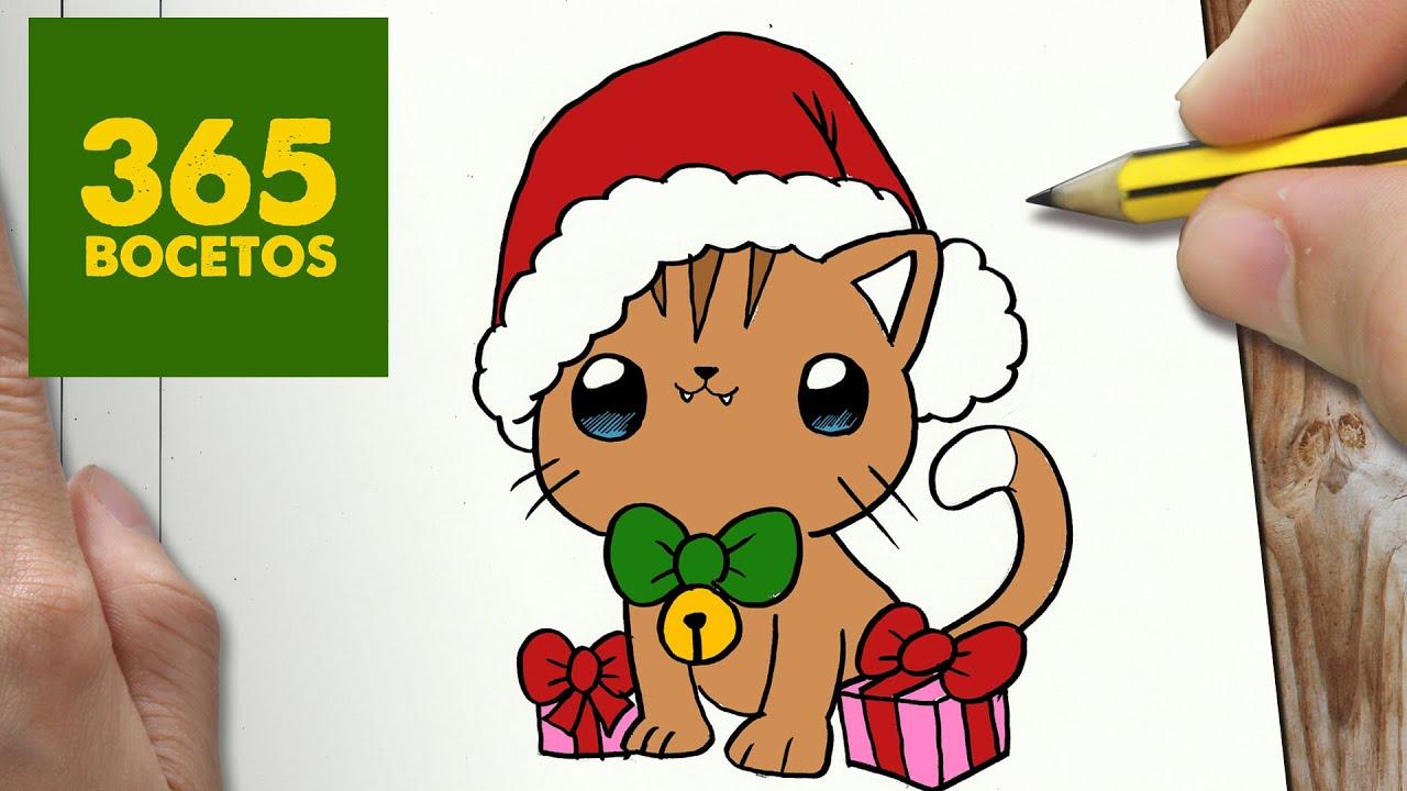 Como Dibujar Un Gato Para Navidad Paso A Paso Dibujos Kawaii
