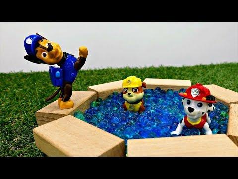 Vidéo de jouets #PatPatrouille en français pour enfants. Construction  PISCINE 🏊de briques #orbeez
