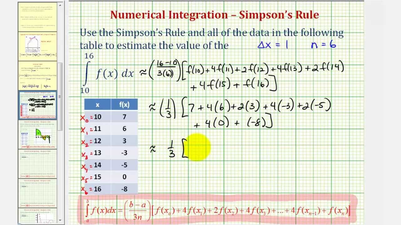 Ex Simpsons Rule Using A Table Of Values Youtube