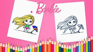 how to draw barbie at the beach barbie coloring book pages for kids, children and preschoolers
