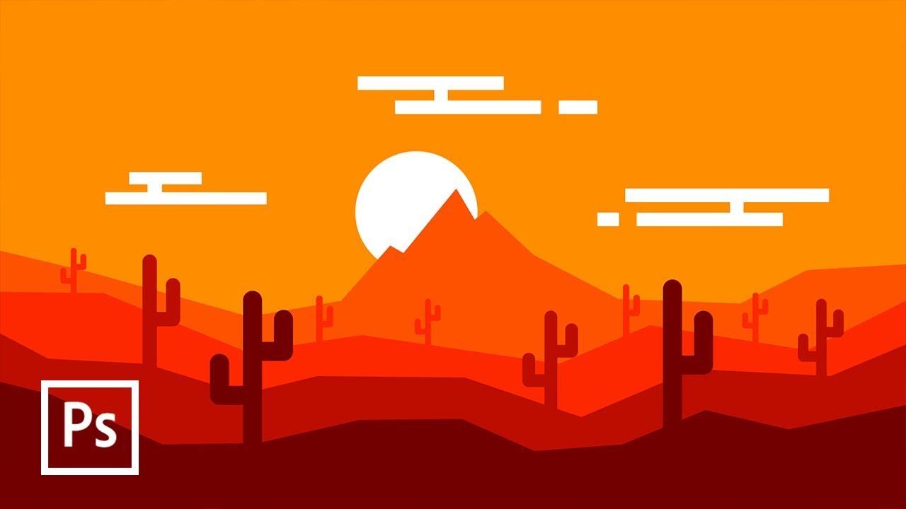 Cara membuat landscape flat design di photoshop for It design