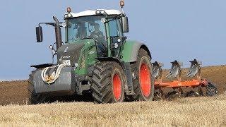 Fendt 828 Vario working in the field ploughing w/ 5-Furrow Kuhn Vari-Master 151 | DK Agri