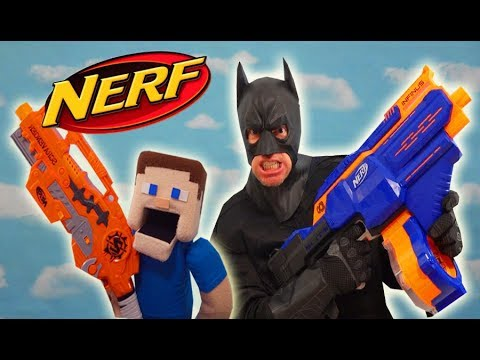 BATMAN and Puppet Steve NERF Gun WAR!