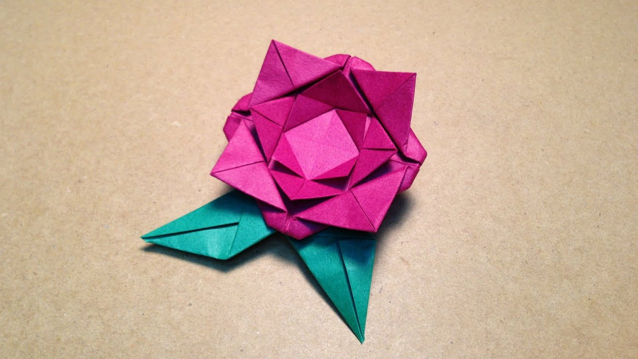 Origami Flower Instructions Roseleaf Easy For Children Youtube