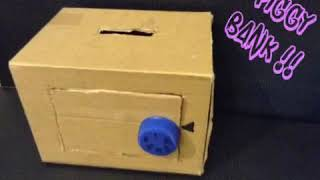 How to make piggy bank/ Money box with lock | Easy crafts | DIY piggy bank / Money box | Huda Crafts