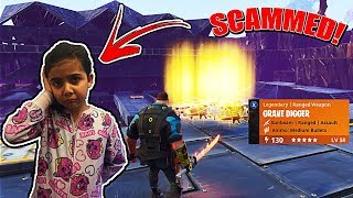 MY 5 YEAR OLD LITTLE SISTER GOT SCAMMED ON FORTNITE SAVE THE WORLD!! (SCAMMER GETS SCAMMED!)