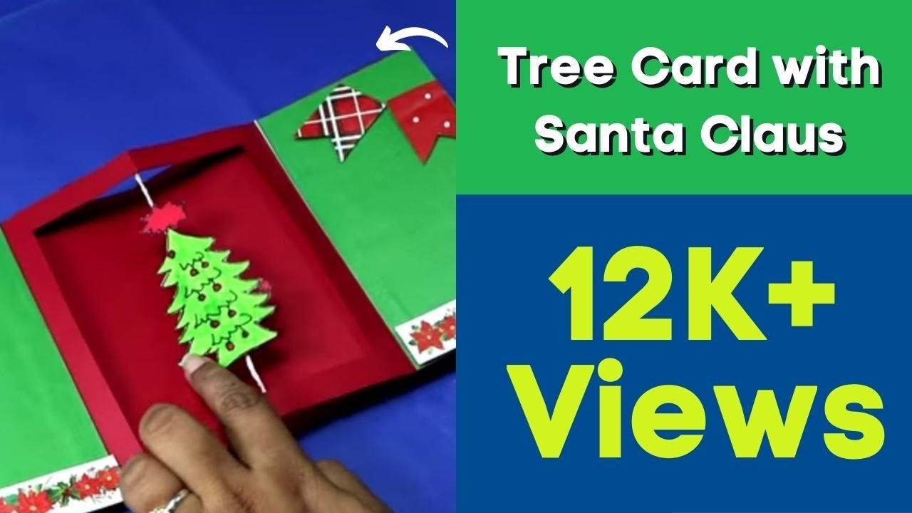 how to make pop up christmas tree card with santa claus
