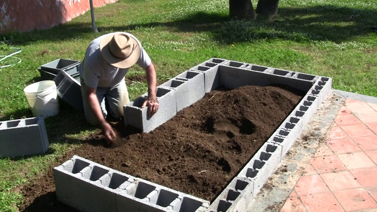"""VermiBag Ep 5 """"Making a Raised Bed Garden with Concrete Blocks"""""""