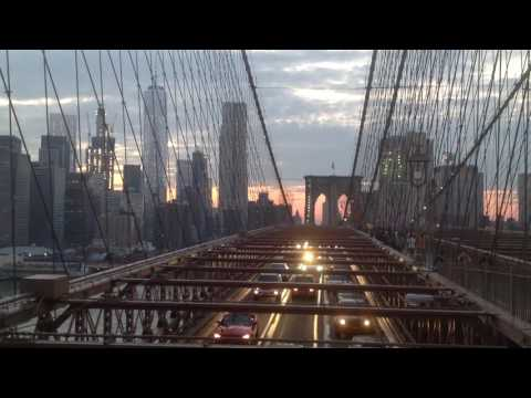 Brooklyn Bridge with Sunset over Lower Manhattan