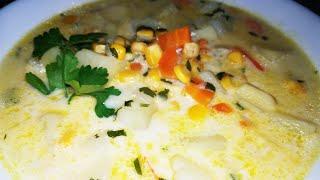 Суп с плавленым сыром Ну очень вкусно и сытно.