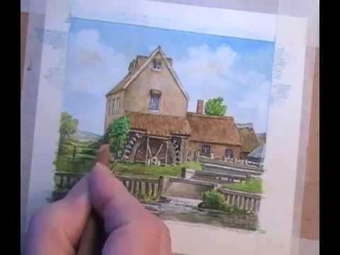 dedham mill landscape adding pastel pencil to watercolour youtube