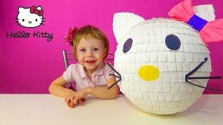 Очень большой киндер сюрприз Хелло Китти Распаковка игрушки Hello Kitty