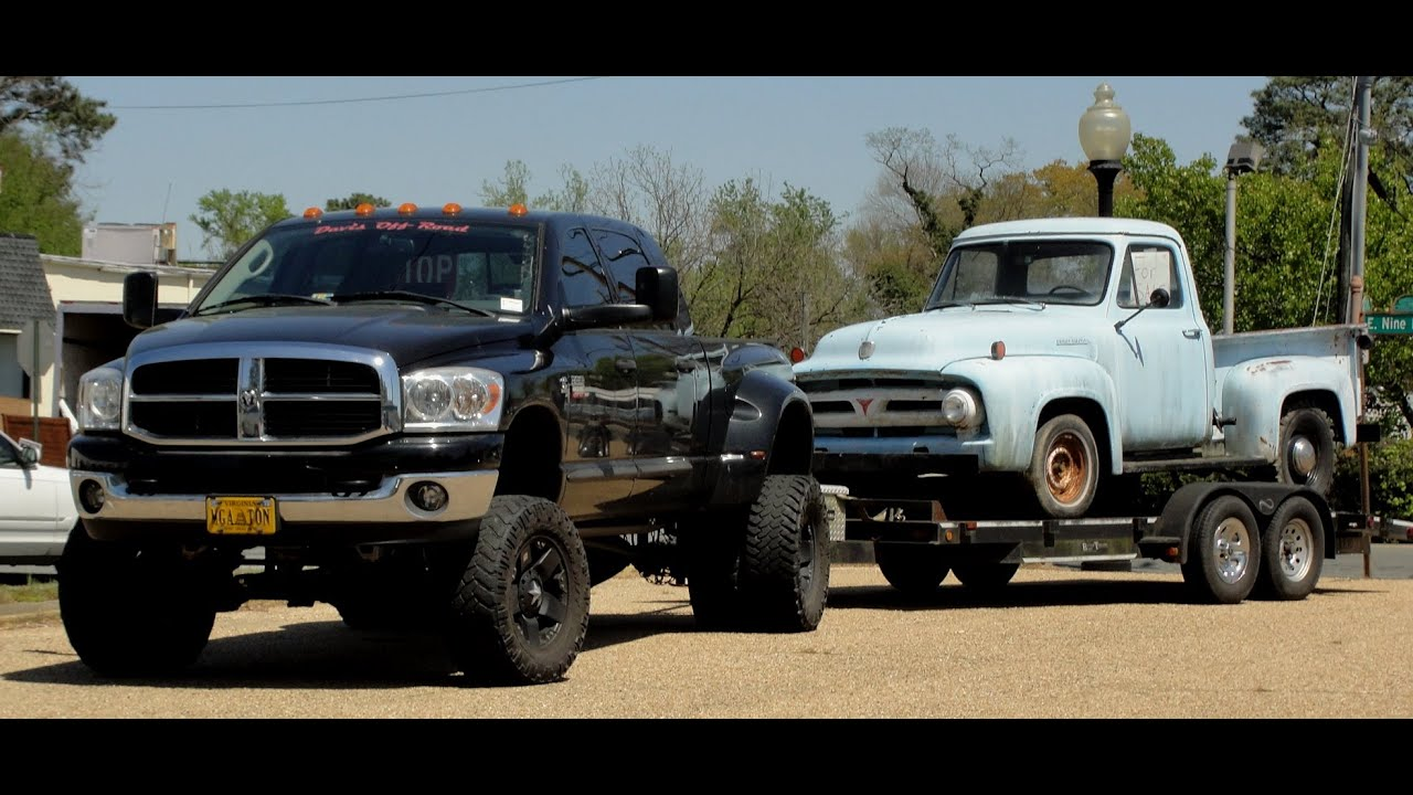 Pictures Of Jacked Up Trucks >> SUPER JACKED UP DODGE RAM DUALLY HAULING RAT ROD FORD TRUCK BARN/FIELD FIND - YouTube