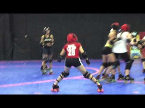 """Maya """"Kharem of the Crop"""" Kharem (number 28) of Gotham Girls Jr. Roller Derby"""