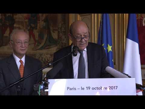 Déclaration du ministre M. Le Drian et de Yukiya Amano DG de l'AIEA 19/10/2017