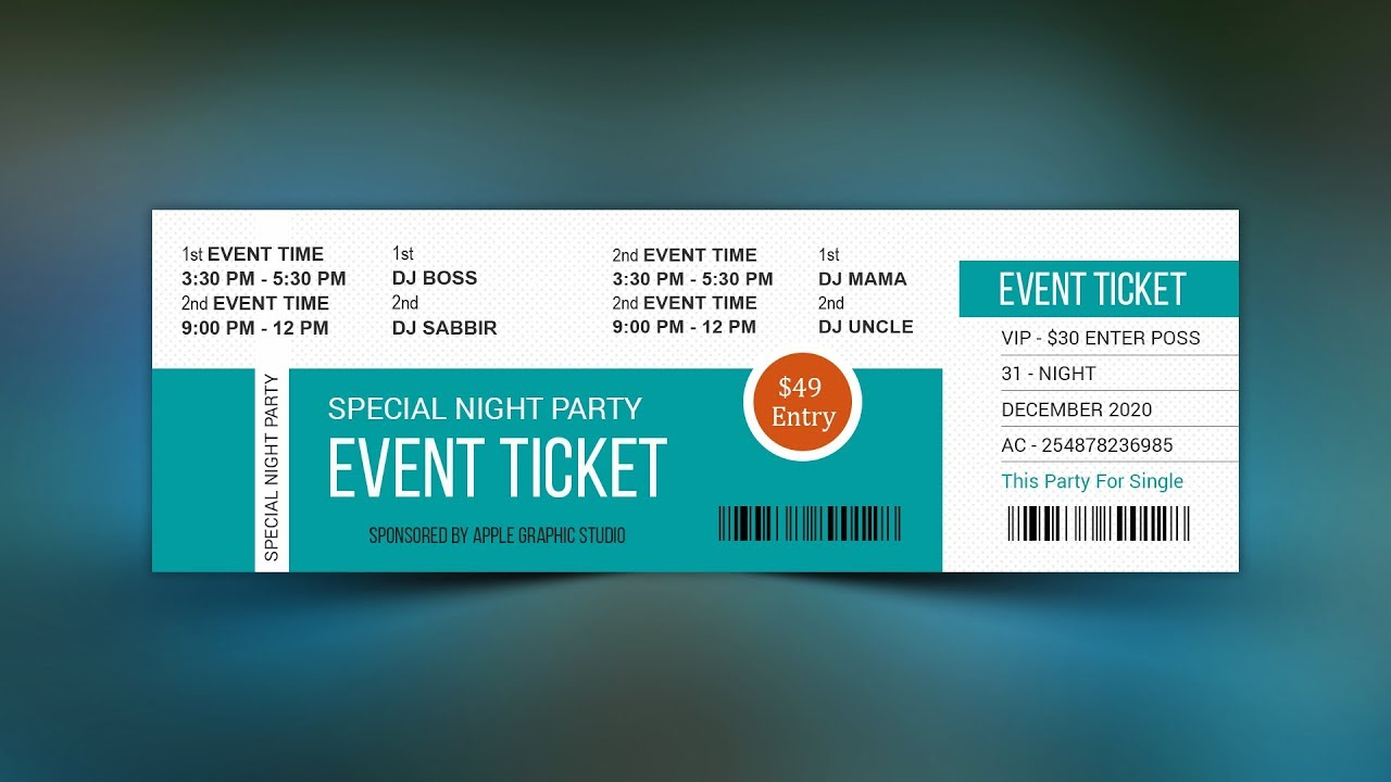 how to make a best event ticket photoshop tutorial youtube