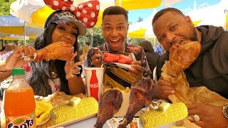 Disneyland Smoked Turkey Leg and Chili Lime Corn Mukbang