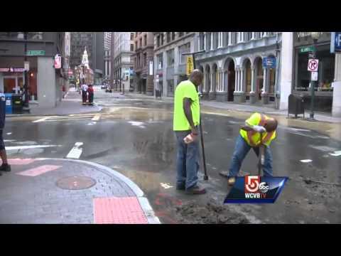 Uncut: Water main break in Boston's Financial District