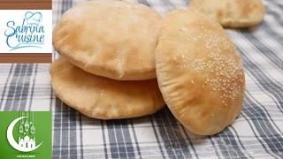 طريقة التحضير الخبز العربي او خبز العيش الشامي في البيت خبز الشاورما Sabrina Cuisine Youtube