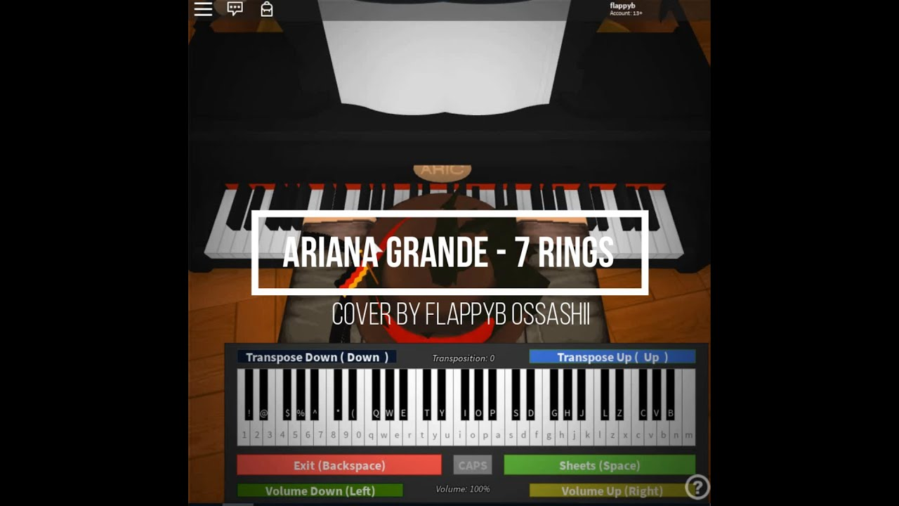 Roblox Piano Ariana Grande 7 Rings Full Notes In The