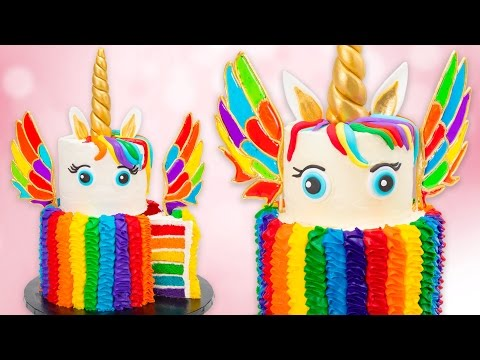 How to Make a Rainbow Unicorn Cake w/ Isomalt Wings Recipe