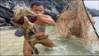 Primitive Technology with Survival Skills: Making Fishing Nets Giant and Good Cooking of Beach
