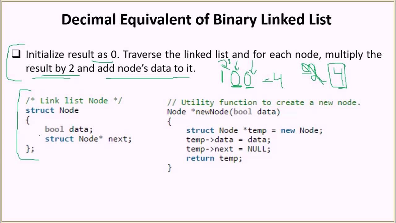 Decimal Equivalent of Binary Linked List - GeeksforGeeks