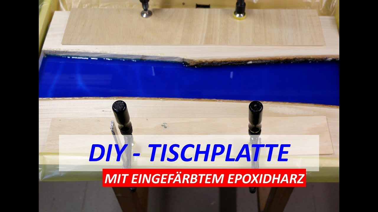 diy tischplatte mit blauem epoxidharz gie en tutorial. Black Bedroom Furniture Sets. Home Design Ideas