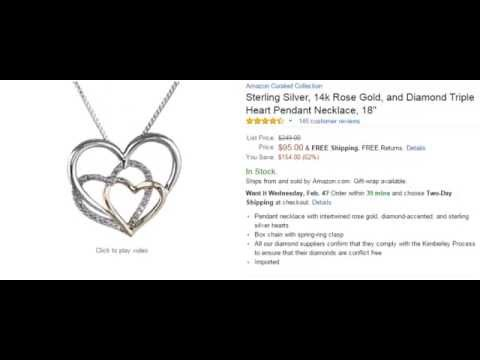 Sterling silver 14k rose gold and diamond triple heart pendant sterling silver 14k rose gold and diamond triple heart pendant necklace 18 aloadofball Images