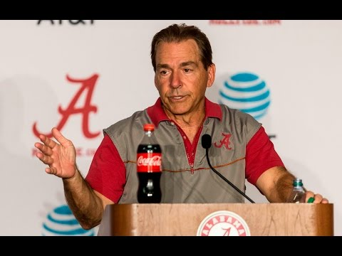 Nick Saban reacts to Alabama football's first 2017 spring scrimmage, talks about summer camps