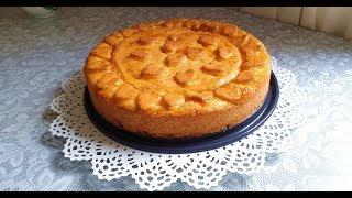 Пирог с грушами и яблочным повидлом .