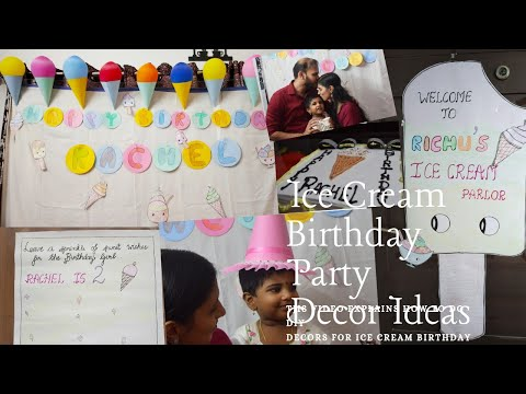 Diy Ice Cream Birthday party Decorations | Simple party decor ideas using paper