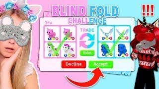 BLINDFOLDED TRADING CHALLENGE In Adopt Me! (Roblox)