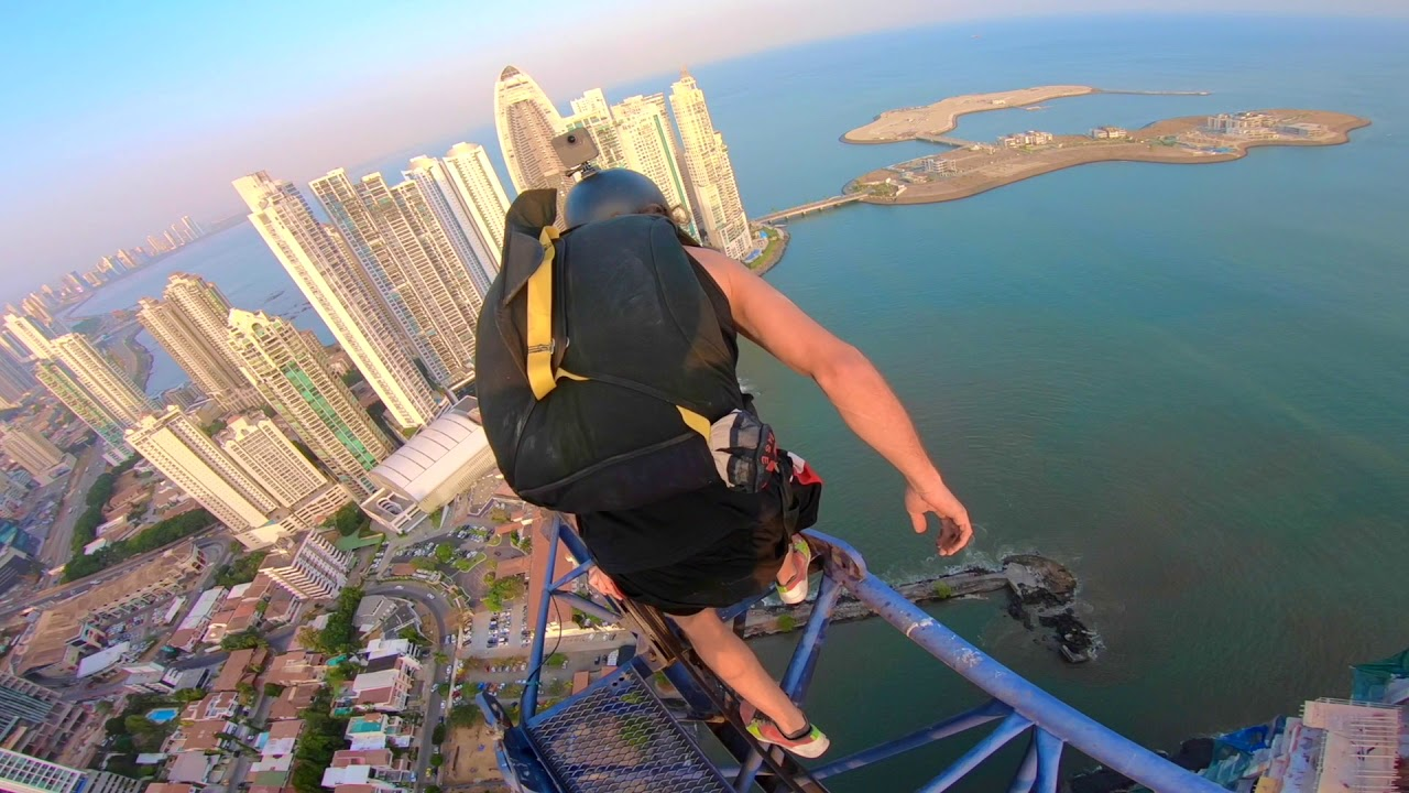 1000 ft Crane BASE jump windy triple gainer